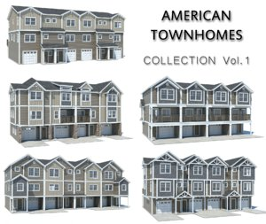 3D american townhomes