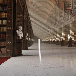3D neoclassical library architecture scene