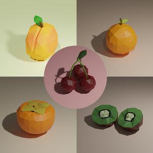 3D apricot cherry kiwi