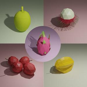 3D fruit jackfruit lychee