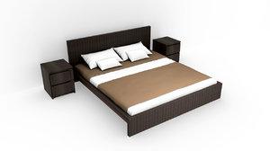 nice queen size bed 3D model