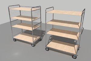 3D industrial trolleys warehouses model