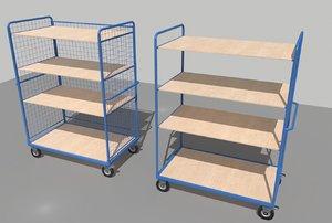 industrial trolleys 1 warehouses 3D