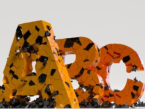 collapsing letters 3D model