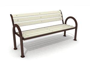 3D model outdoor composite bench