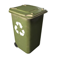 Plastic Trash Bin Green