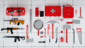 3D survival kit tools weapons model