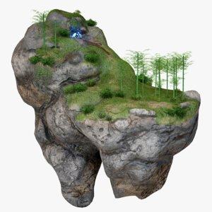 floating island crystal cave 3D model