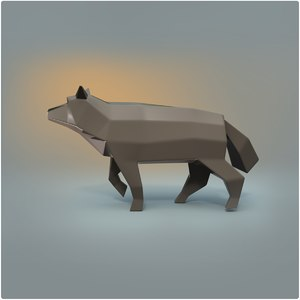 3D wolf animation rigged model