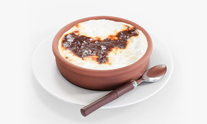 baked rice pudding 3D