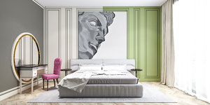 3D bedroom neoclassic colorful