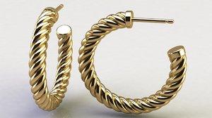 cable hoop earrings 3D model