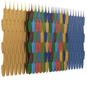 wall tile leaves ceramic 3D model