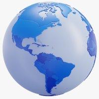 Blue Geopolitical World Map