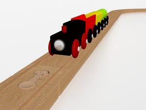 3D wooden train - model