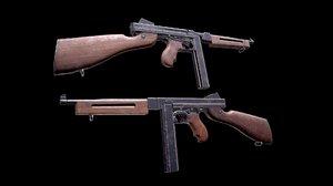 machine gun m1a1 3D model