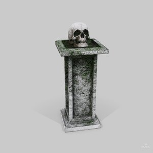 skull temple pedestal - 3D model