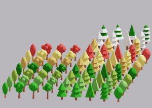 cartoon simple tree pack 3D model