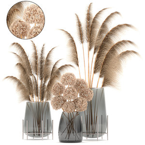 3D model decorative bouquet dried flowers