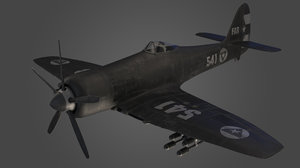 hawker sea fury airplane 3D