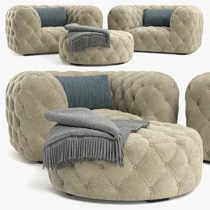 chester moon armchair 3D model
