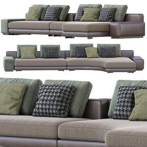 minotti daniels sofa 02 3D model