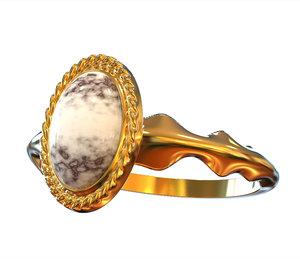 3D ring white marble model