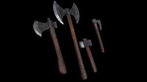 3D axes vikings model