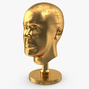old golden head statue 3D model