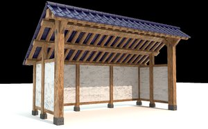 open shed plastered walls 3D