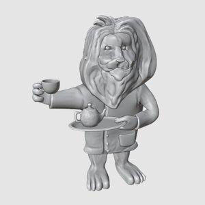 3D model lion english tea