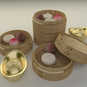 chinese gold ingot 3D