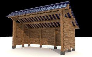 open shed wooden walls model