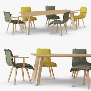 set leaf armchair table 3D model