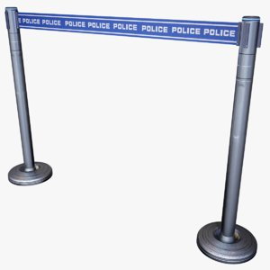 3d model futuristic police mobile fence
