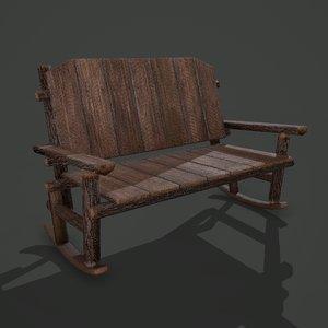 3D wooden rocking bench