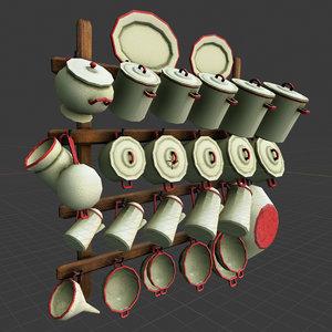3D set kitchen pans