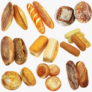3D bread baguette loaf