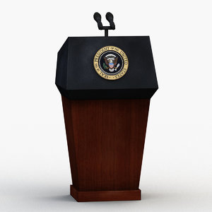 3D white house podium