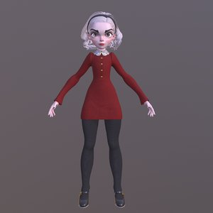 female cartoon character 3D model