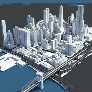 3D manhattan lower buildings model