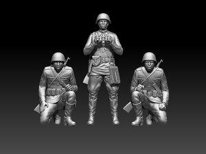 3D ussr soldiers model