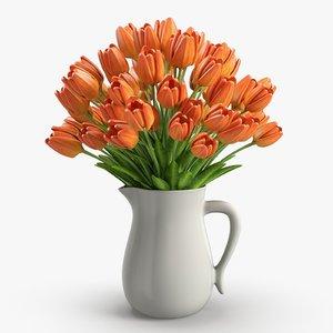 3D orange tulips jug