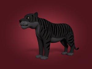 3D cartoon black tiger