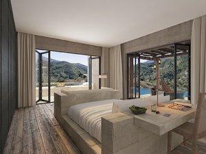 3D bali villa bedroom bathtub