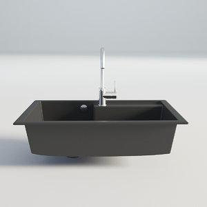 3D kitchen sink black model