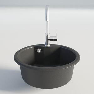 3D kitchen sink black