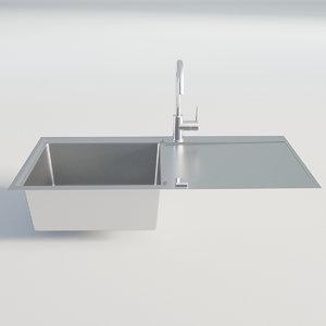3D kitchen sink chrome model