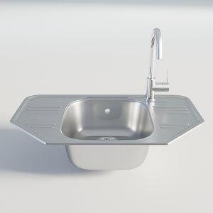 3D kitchen sink chrome