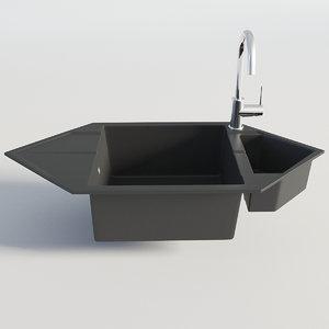 3D model kitchen sink black